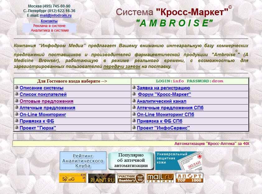 Список фармацевтических компаний по сайту КроссМаркет (Инфодром)