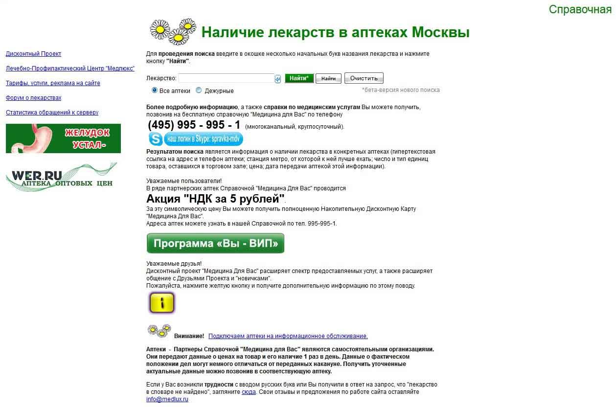 предложения лекарств розничного фармрынка medlux